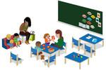 illustration : 4 enfants en classe, la maitresse est avec un groupe, l'ATSEM assiste la maitresse