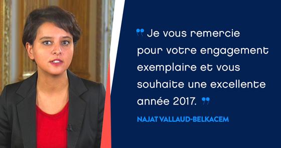 Najat Vallaud-Belkacem vous présente ses meilleurs vœux pour l'année 2017