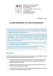 A NEW PROGRAM TO TEACH CITIZENSHIP