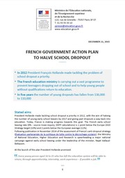 FRENCH GOVERNMENT ACTION PLAN TO HALVE SCHOOL DROPOUT