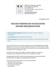 TEACHER TRAINING KEY IN EDUCATION REFORM IMPLEMENTATION