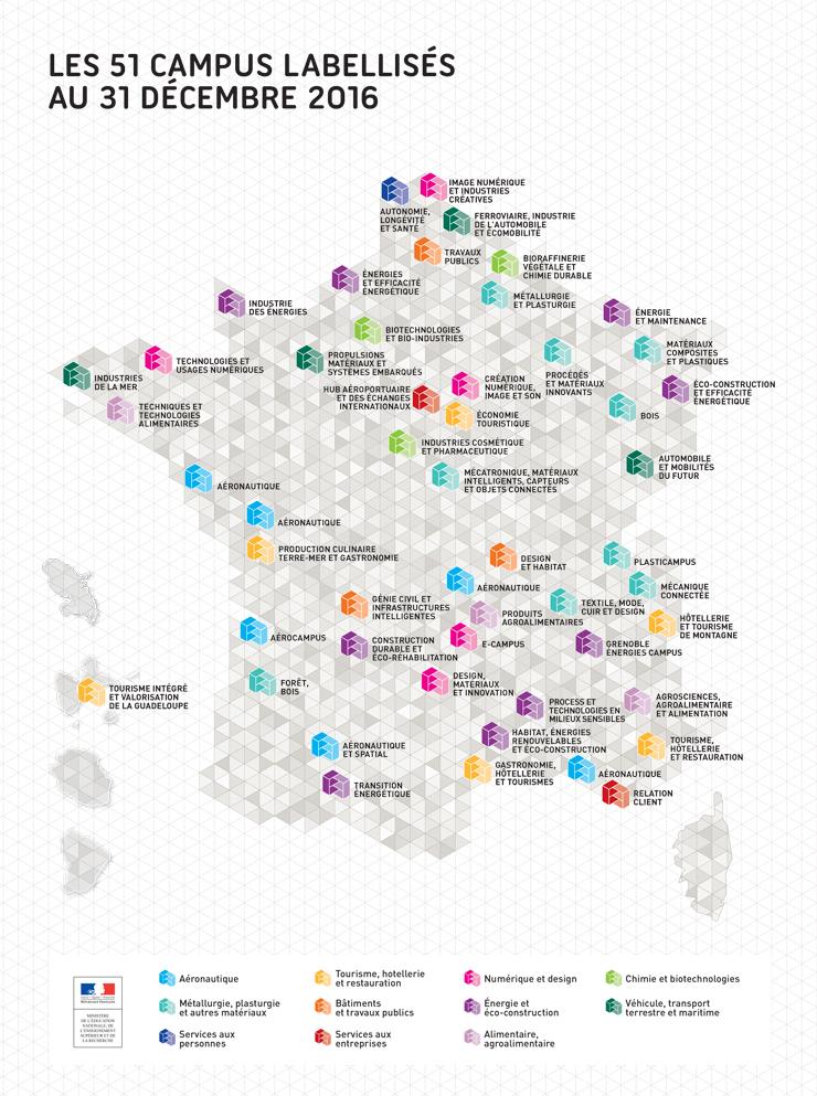 Les 51 Campus labellisés au 31 décembre 2016