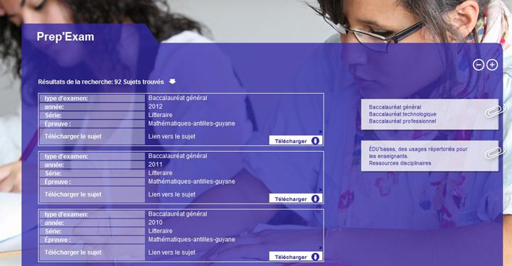 capture d'écran des résultats de recherche dans la base de données des examens