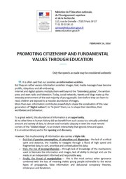 Promoting citizenship and fundamental values through education