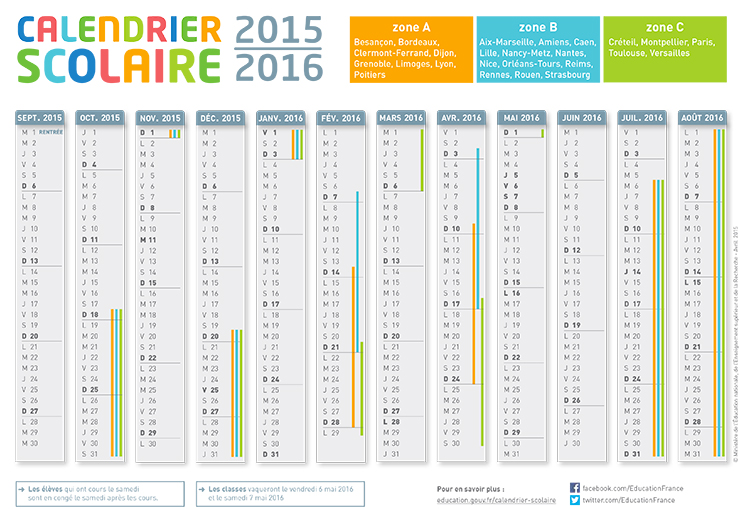 calendrier scolaire france 2016
