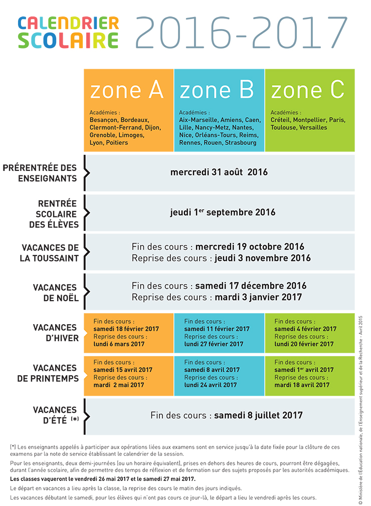 calendrier scolaire pour les ann es 2015 2016 2016 2017 2017 2018 minist re de l 39 ducation. Black Bedroom Furniture Sets. Home Design Ideas