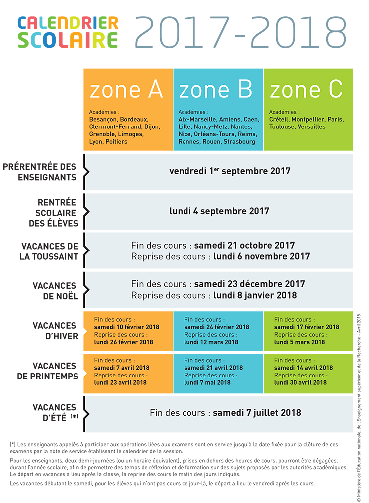 calendrier scolaire pour les ann es 2015 2016 2016 2017. Black Bedroom Furniture Sets. Home Design Ideas