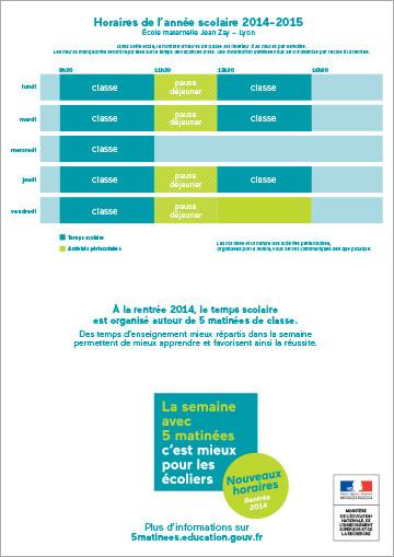 Exemples d'emplois du temps - 2014 nouvelle organisation du temps scolaire à l'école