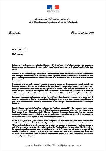 modele de lettre ministre Nouveaux horaires à l'école : Benoît Hamon écrit aux parents d  modele de lettre ministre