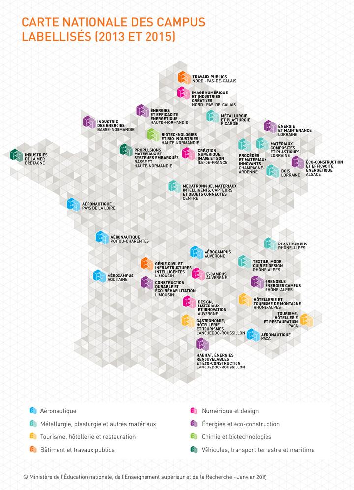 Carte des campus des métiers 2013 et 2015