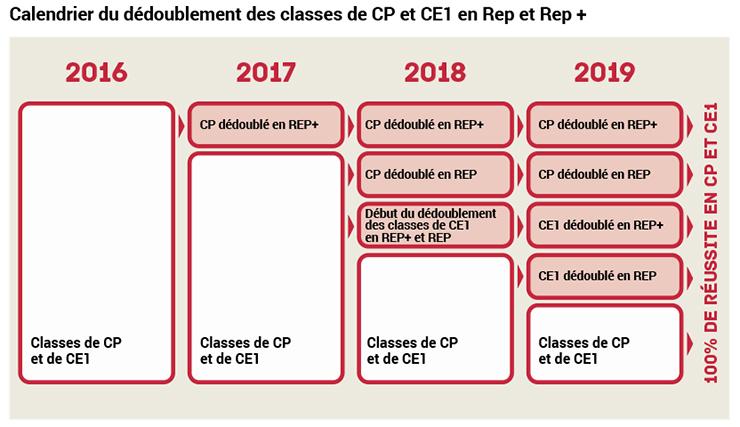 Calendrier dédoublement des classes de CP et CE1