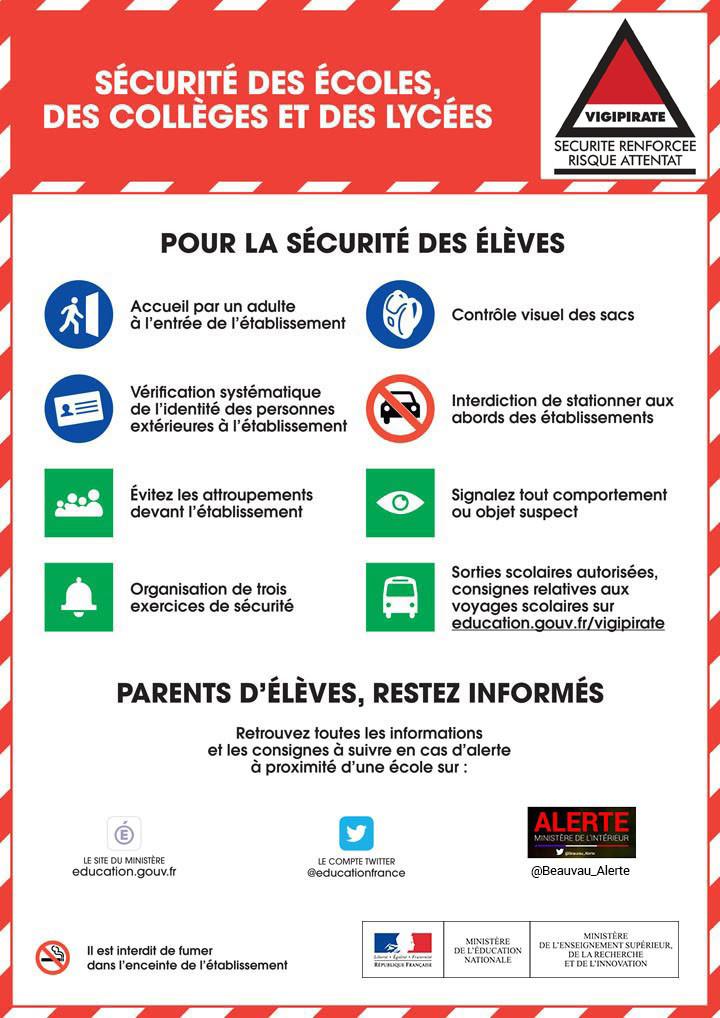 """Infographie """"Sécurité des écoles, collèges, lycées"""""""