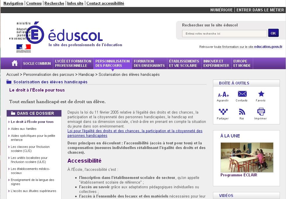 Nouvelle fenêtre vers la page Le droit à l'École pour tous