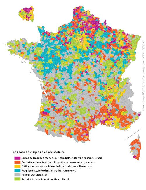 Les zones à risques d'échec scolaire en France