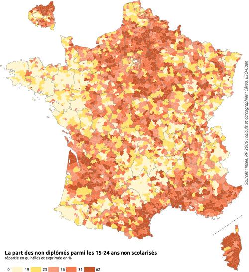 La part des non diplômés parmi les 15-24 ans non scolarisés en France