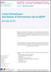 Liste thématique des Notes d'Information de la DEPP - Année 2016