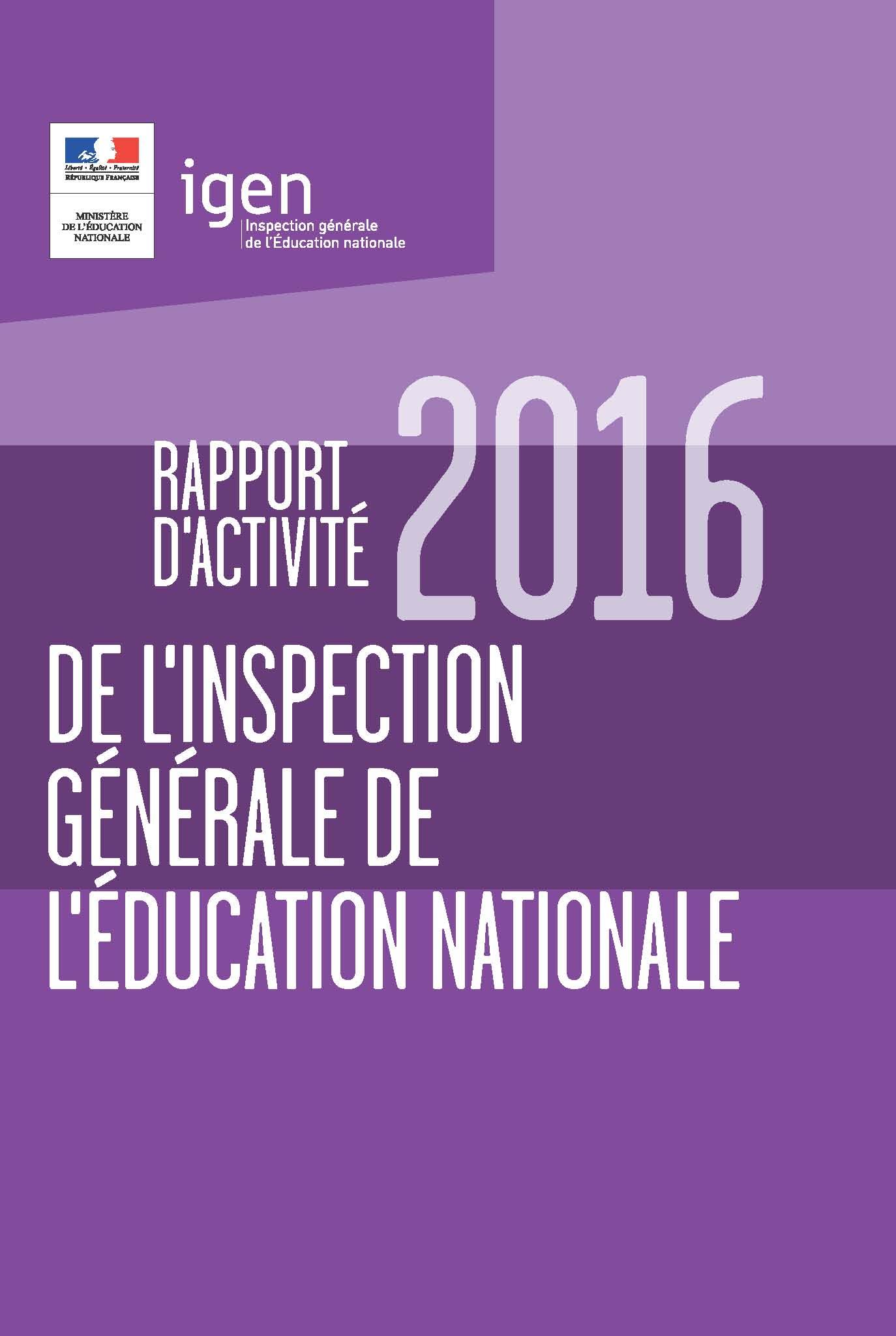 Rapport d'activité IGEN 2016