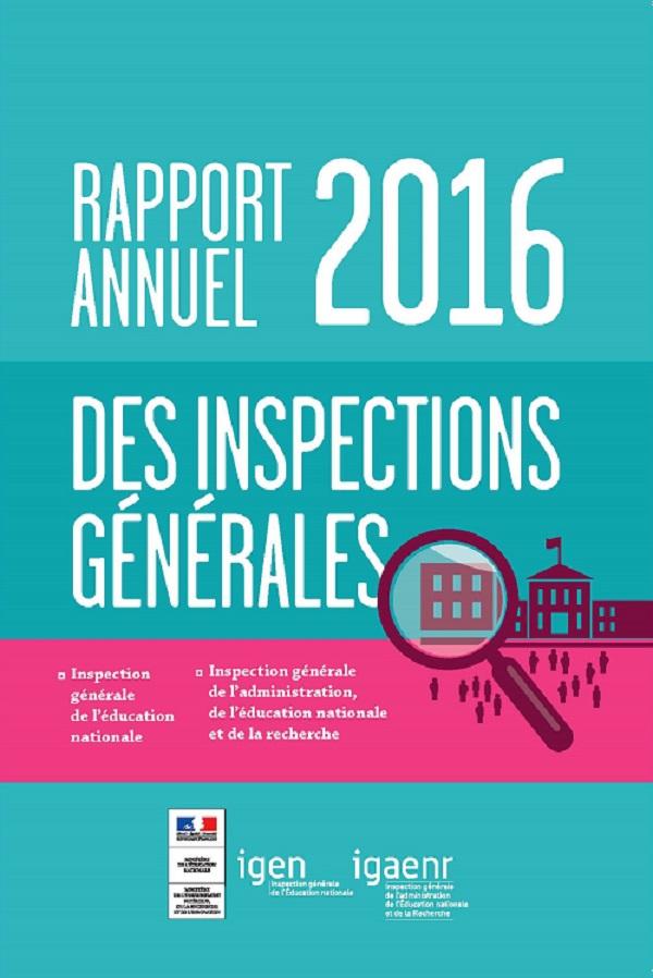 Rapport annuel des inspections générales 2016. Territoires éducatifs: état des lieux et perspectives