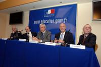 Éric Orsenna, Alain Bentolila, Gilles de Robien et Dominique Desmarchelier - © Caroline Lucas / M.E.N.E.S.R