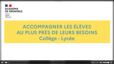 video accompagner au plus pres de l'enfant - college lycee
