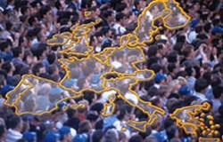 carte europe foule