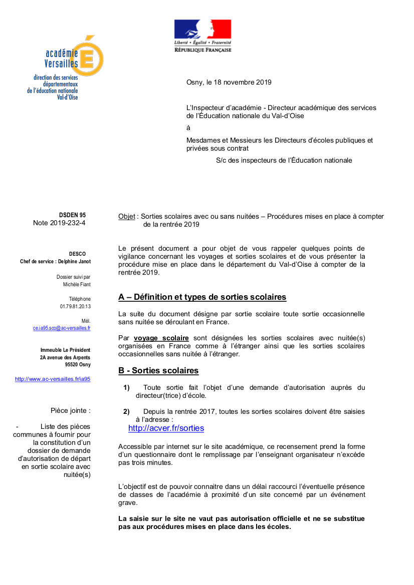CIRCULAIRE 1999 SORTIES SCOLAIRES PDF