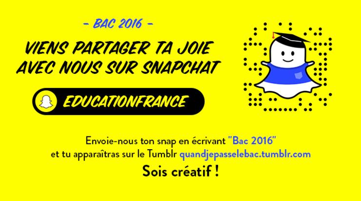 Bac 2016: viens partager ta joie avec nous sur Snapchat