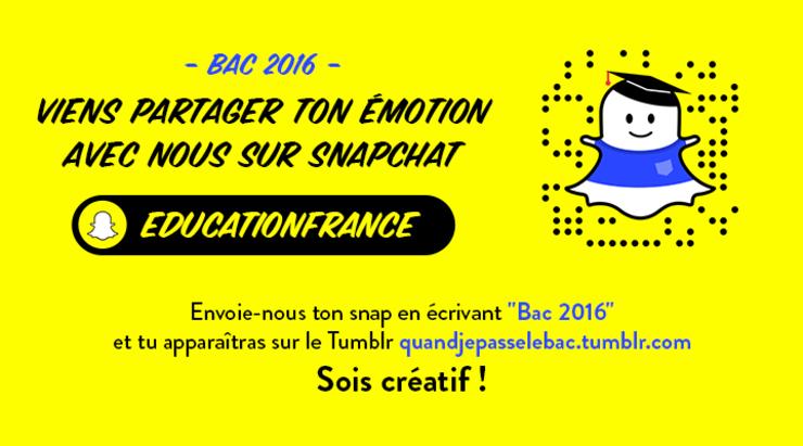Bac 2016: viens partager ton émotion avec nous sur Snapchat